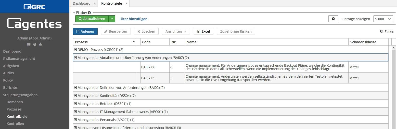 aGRC Software - Kontrollziele
