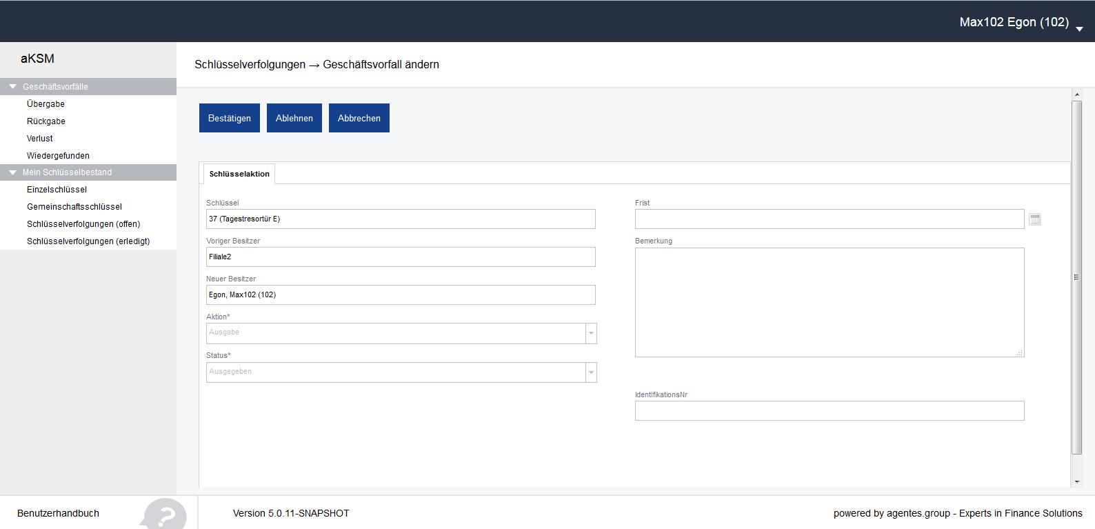 aKSM Screenshot 006 Schlüsselverfolgungen offen Benutzeraktionen