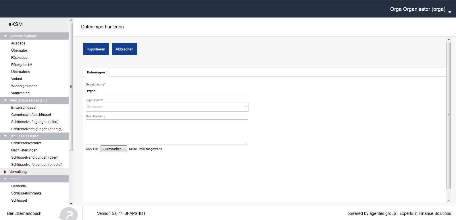 aKSM Screenshot 009 Import Schlüssel CSV Dateisuche