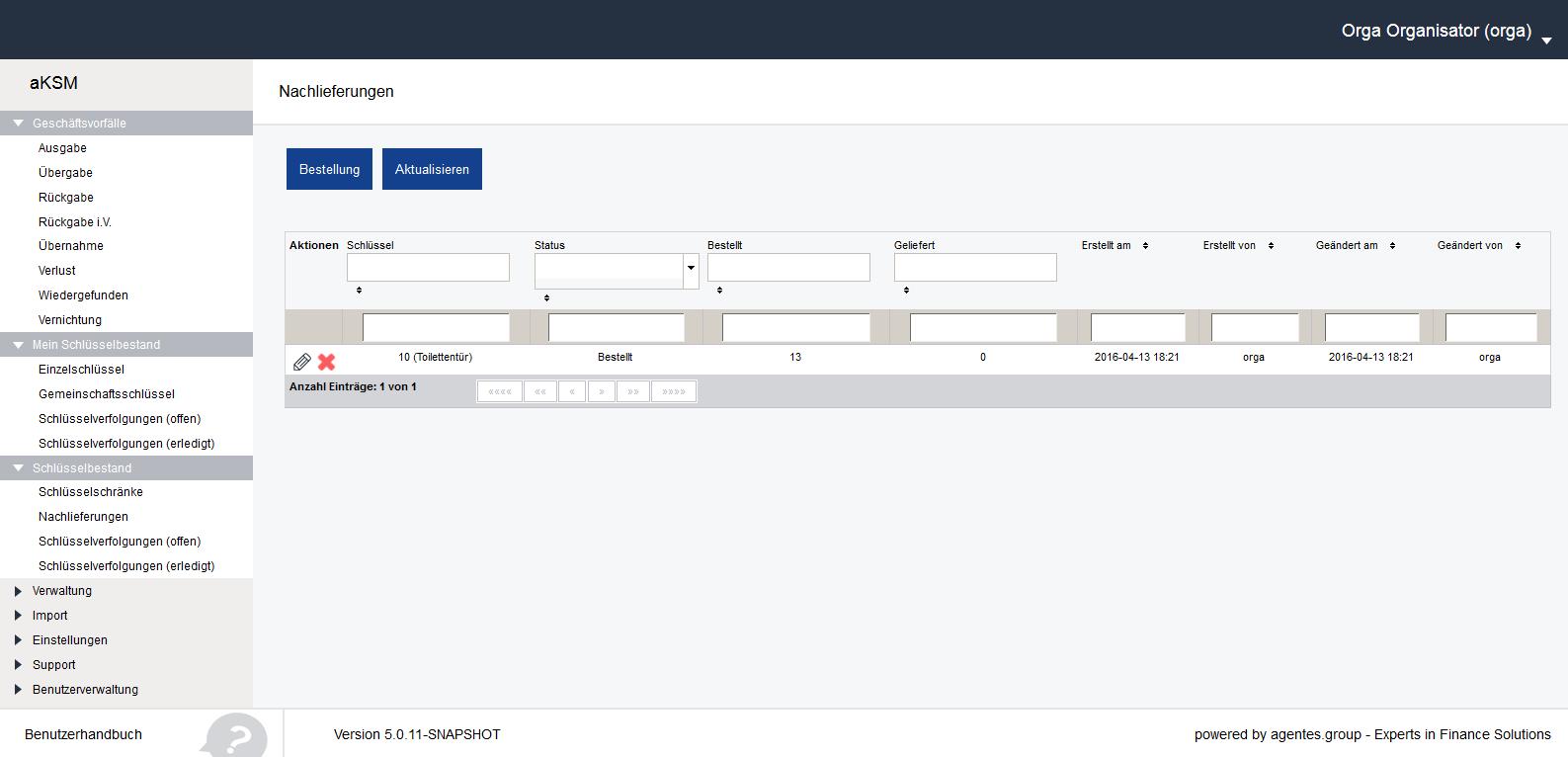 aKSM Screenshot 014 Schlüsselbestand Nachlieferungen Bestellungen