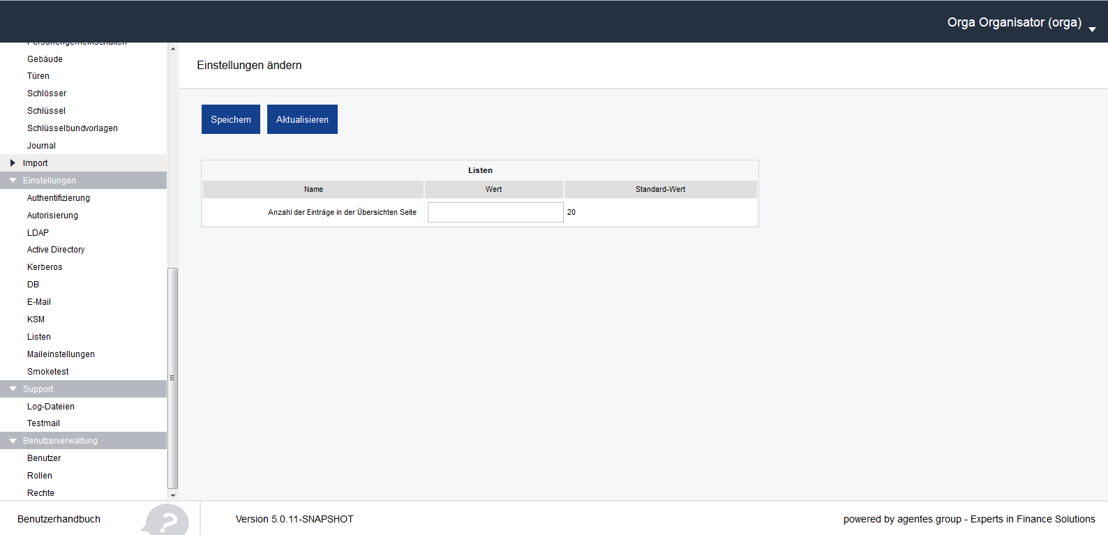 aKSM Screenshot 016 Administration Menü